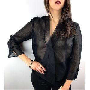 Vintage black sheer blouse